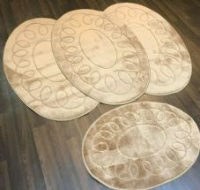 ROMANY WASHABLE TRAVELLERS MATS 4PC SETS NON SLIP REGULAR SIZE BEIGE-BROWN OVAL